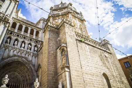 gothic style: majestic Cathedral of Toledo Gothic style, with walls full of religious sculptures