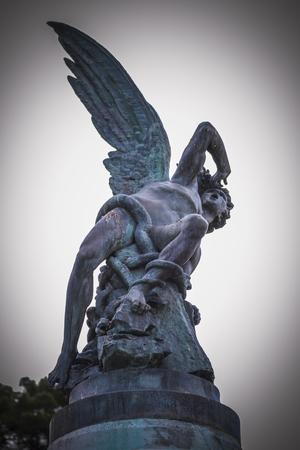 gargoyles: scary, devil figure, bronze sculpture with demonic gargoyles and monsters