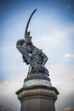 gargoyles: retiro, devil figure, bronze sculpture with demonic gargoyles and monsters