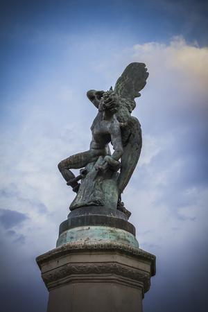 gargoyles: chimera, devil figure, bronze sculpture with demonic gargoyles and monsters