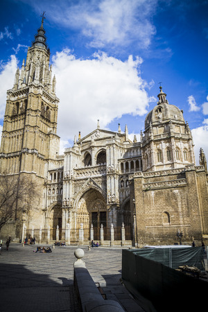 toledo town: majestic Cathedral of Toledo Gothic style, with walls full of religious sculptures