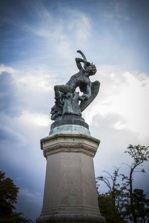 gargoyles: devil figure, bronze sculpture with demonic gargoyles and monsters