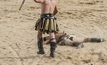 gladiator fights in the arena of the Roman circus, representation Stock Photo