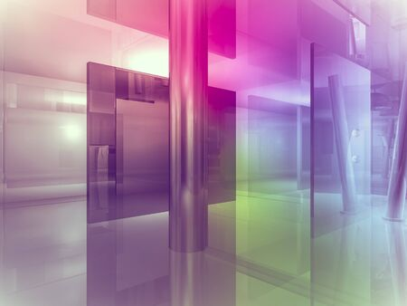 clean room: perspective, open space, clean room with shapes in 3d, business space, hospitals or art gallery Stock Photo
