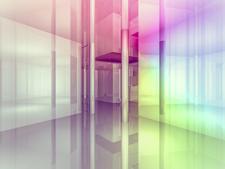 shop floor: open space, clean room with shapes in 3d, business space, hospitals or art gallery