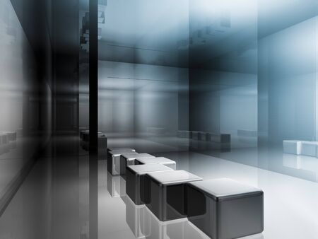 clean room: futuristic open space, clean room with shapes in 3d, business space, hospitals or art gallery