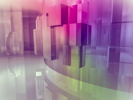 shop floor: showroom, open space, clean room with shapes in 3d, business space, hospitals or art gallery