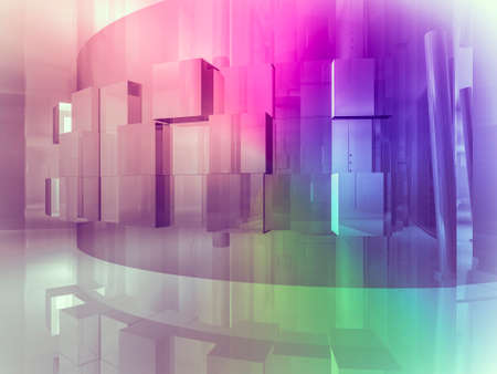 art gallery: house open space, clean room with shapes in 3d, business space, hospitals or art gallery Stock Photo