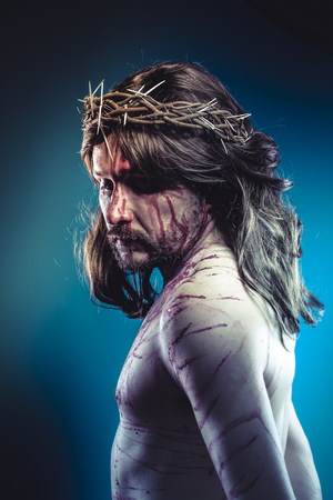 jesus christ crown of thorns: Belief, Easter jesus christ, son of god representation with crown of thorns and wounds of Calvary skin