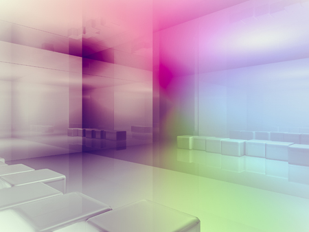 clean room: open space, clean room with shapes in 3d, business space, hospitals or art gallery