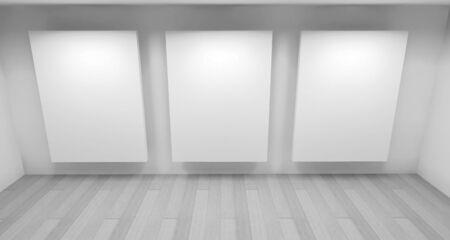 exposition: exposition, clean art gallery space with blank frames on the wall, clean room with shapes in 3d, business space and work