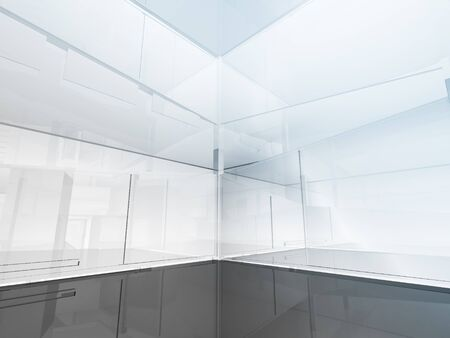 skylight: open space, clean room with shapes in 3d, business space, hospitals or art gallery