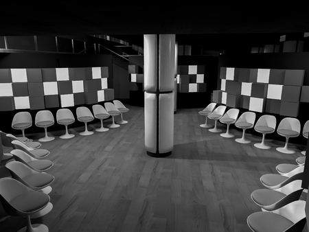 clean room: waiting room with chairs in hospital, clean room with shapes in 3d, business space and work