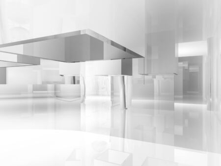 art gallery: open space, clean room with shapes in 3d, business space, hospitals or art gallery