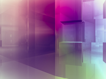 open space: open space, clean room with shapes in 3d, business space, hospitals or art gallery