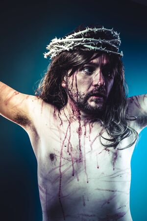 jesus christ crown of thorns: life, Easter jesus christ, son of god representation with crown of thorns and wounds of Calvary skin