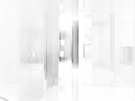 open space: showroom, open space, clean room with shapes in 3d, business space, hospitals or art gallery