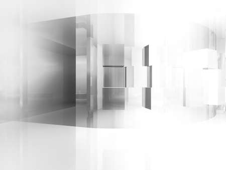 open space: house open space, clean room with shapes in 3d, business space, hospitals or art gallery Stock Photo