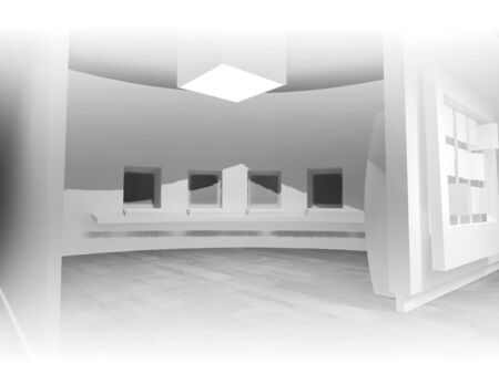 plinth: open space, clean room with shapes in 3d, business space and work