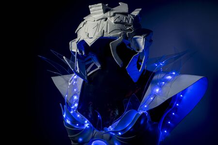 make up model: technology, robotic spacesuit with blue lights and transparent sheets, futuristic armor
