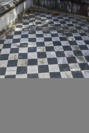 old and new: checkerboard, gamero textured floor or chess, nineteenth century, grungy texture and old