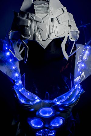 spacesuit: robotic spacesuit with blue lights and transparent sheets, futuristic armor