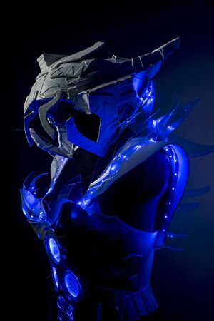 blue lights: robotic spacesuit with blue lights and transparent sheets, futuristic armor