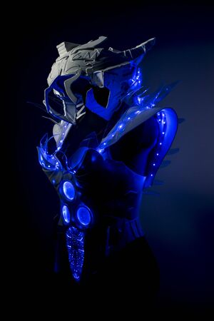 spacesuit: design robotic spacesuit with blue lights and transparent sheets, futuristic armor Stock Photo