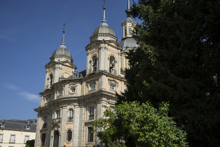 castile leon: Palacio de la Granja de San Ildefonso in Madrid, Spain. beautiful villa with gardens and classical sources