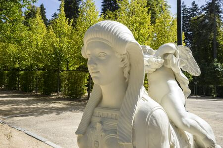 effigy: effigy, white marble sculptures in the gardens of Segovia, Spain. beautiful figures of classical gods, mythology