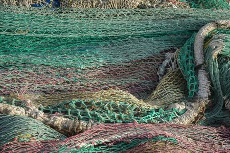 port of spain: rigs and fishing nets with a port in Mallorca, Spain. Detail of wires and cords