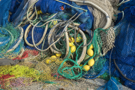 floats: Nautical, rigs and fishing nets with a port in Mallorca, Spain. Detail of wires and cords