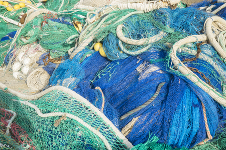 rudd: rigs and fishing nets with a port in Mallorca, Spain. Detail of wires and cords