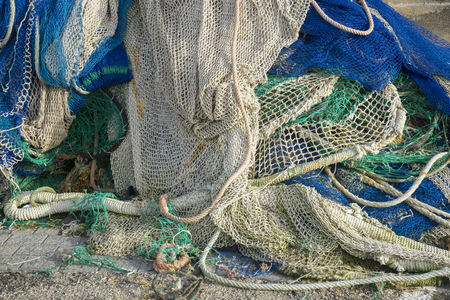 cords: Industry, rigs and fishing nets with a port in Mallorca, Spain. Detail of wires and cords