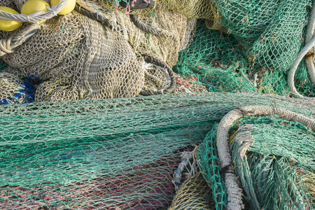 rigs and fishing nets with a port in Mallorca, Spain. Detail of wires and cords