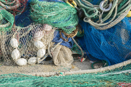 Tool, rigs and fishing nets with a port in Mallorca, Spain. Detail of wires and cords