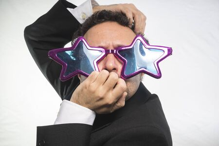 achiever: Celebrity, businessman with glasses stars, crazy and funny achiever