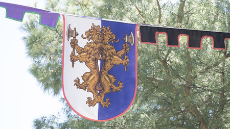 madrid spain: emblem, medieval coats of arms in a traditional ancient art fair in Madrid, Spain