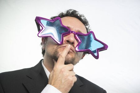 boastful: businessman with glasses stars, crazy and funny achiever