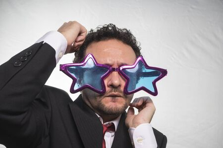 achiever: famous, businessman with glasses stars, crazy and funny achiever