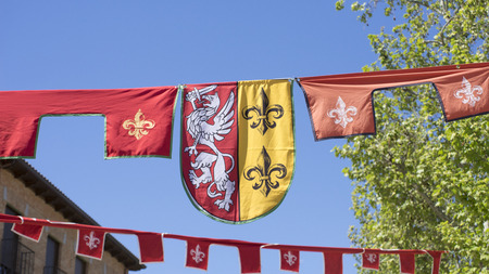 madrid spain: knight, medieval coats of arms in a traditional ancient art fair in Madrid, Spain