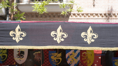 madrid spain: medieval coats of arms in a traditional ancient art fair in Madrid, Spain
