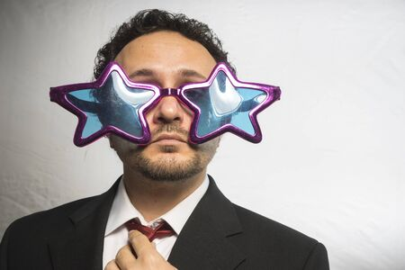 boastful: Celebrity, businessman with glasses stars, crazy and funny achiever