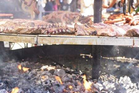 medieval barbecue with sausages, octopus, meat, ribs and all kinds of traditional foods in Spain