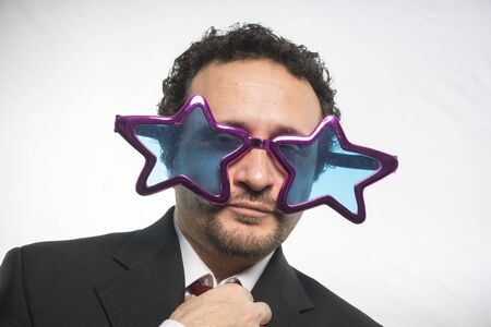 boastful: famous, businessman with glasses stars, crazy and funny achiever