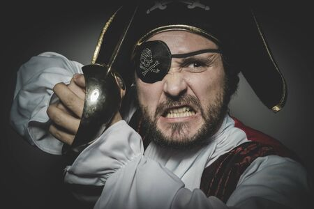 eye patch: man pirate with eye patch and old hat with funny faces and expressive