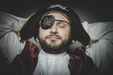 eye patch: Peace, man pirate with eye patch and old hat with funny faces and expressive
