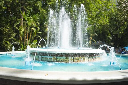 pedro de alcantara: fountains with large water jets summer in Marbella, Andalucia Spain
