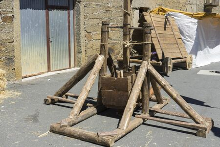 siege: medieval siege weapons, festival with antique decor in a traditional village in Spain zamora Stock Photo