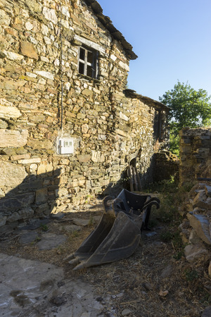 deteriorated: wood and stone houses in the province of Zamora in Spain
